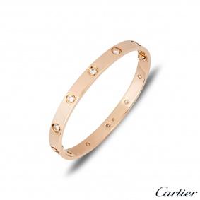 Cartier Rose Gold Full Diamond Love Bracelet Size 17 B6040617